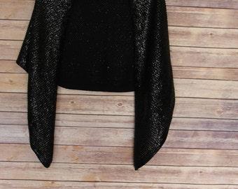 Vintage Black Sequin Shawl Cape