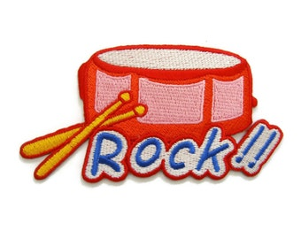 Rock Drum Musical Instrument Embroidered Applique Iron on Patch 10.6 cm. x 5.4 cm.
