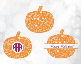 Pumpkin monogram frame svg - Pumpkin SVG, DXF, EPS,Png - circle monogram Frame - Halloween monogram svg - Halloween Thanksgiving svg files