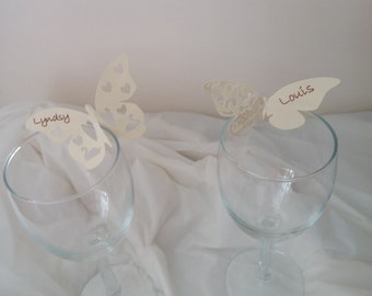 Elegant wine glass place card - butterfly