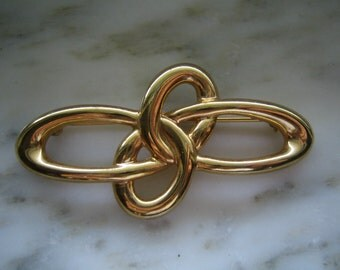 Vintage Liz Claiborne Gold Tone Knot Pin or Brooch