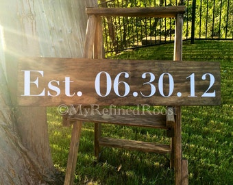 Est. Date Wood Sign, Wedding Date, Anniversary, Wedding Decor, Marriage Decor