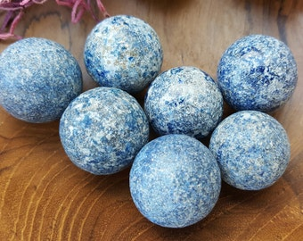 Lapis Lazuli Crystal Sphere  - Hand Carved Gem Stone Ball for Crystal Grids or Terrarium 061