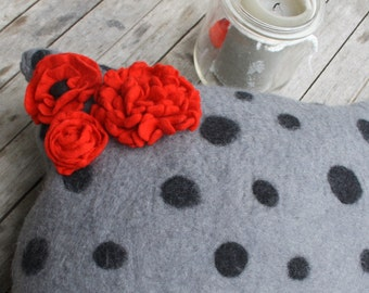 Felted pillow with flowers and dots