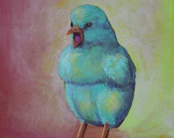 WAKE UP - little blue chick acrylic painting, print