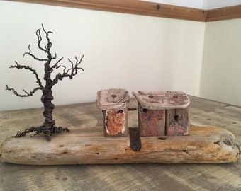 Handmade Driftwood houses with Twisted Wire Tree Sculpture
