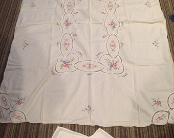 Hand stitched Flowered Tablecloth and napkins