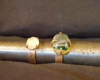Brass Glass Gem Ring
