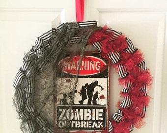halloween wreath zombie wreath halloween skeleton hands tulle wreath