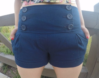 Retro HIGH Waisted Navy Blue Shorts