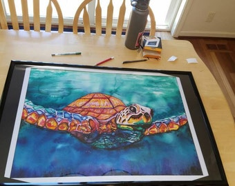 Watercolor sea turtle painting