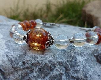 Amber, Clear Quartz, .925 Sterling Silver, Bracelet