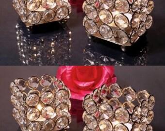 Glass Crystal Wedding Centerpieces Votive Candle Holders 4 Pcs Set ( Square )