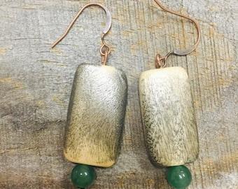 Handmade Green Tan Wood Bead Dangle Earrings