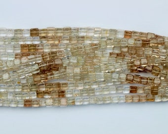 AAA+ quality gemstone 16 inch long strand of IMPERIAL TOPAZ 3D cube [ Heishi Beads ] 4 x 4.3 -- 5 x 5.4 mm