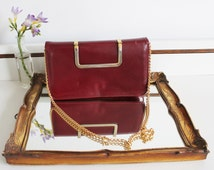 Vintage Key Bags Maroon Burgundy Leather Gold Handle Chain Strap Shoulder Bag Purse Clutch Made in Scotland