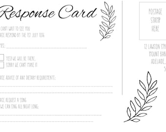Custom response card | Black and white