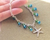 Starfish Charm Bracelet Beach Jewellery Blue Green  Silver Chain Bracelet Sea Themed Jewellery Beach Charm Bracelet Free UK Shipping