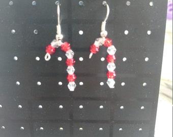Christmas Candy Cane beaded earrings