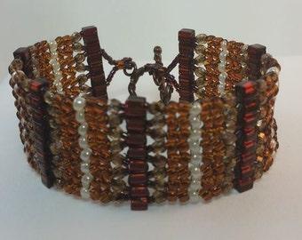 Beaded Herringbone Cuff Bracelet