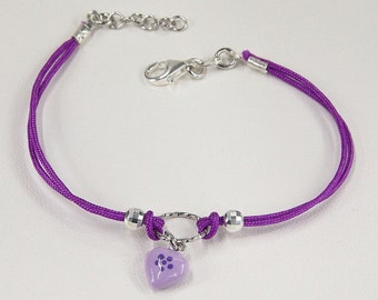 Purple Glazed Heart Bracelet, Purple Waxed String, Sterling Silver 925, Italian Handmade Bracelet, Fashion Jewelry, Gift for Girl,Charm 7830