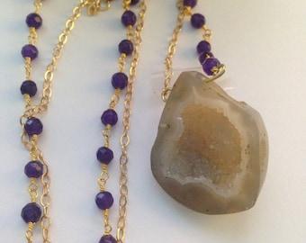 Geode Amethyst Necklace