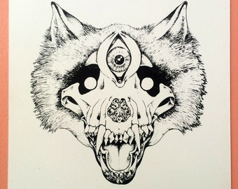 Know Hope Know Loss : hand pulled screenprint of wolf skull and third eye