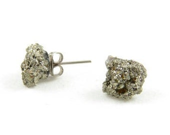 GoldDust Pyrite Earring Studs - Silver