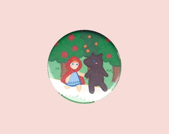 Little Red Riding Hood Badge - kid's button, children's badge, fairy tale pin, big bad wolf button, cute button