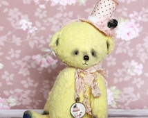 Teddy bear, OOAK, collectible toy, artist teddy bear, hand painted necklace, yellow bear, collectible bear, gentle bear, beautiful gift