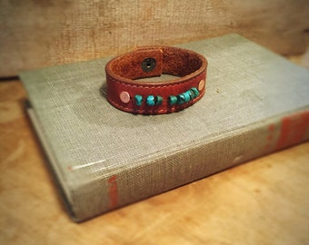 Leather and turquoise cuff