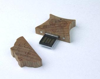 USB flash drive / memory 32 GB - OWL wooden
