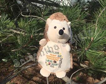 Personalized stuffed Hedgehog, Birth Stat Stuffed Animal, Keepsake, Personalized baby gift, Stuffed Animal, Personalized Adoption Gift