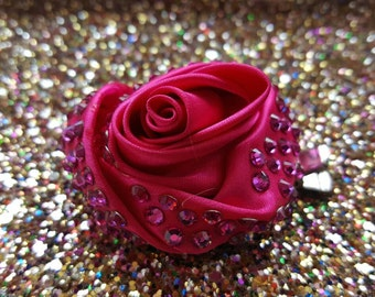 Small pink, rose hair flower with swarovski crystals