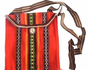 """Peru Purse Shoulder Bag Colorful Inca """"Chasqui"""" Design, unisex bag, shoulder bag"""