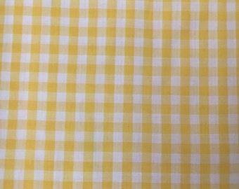 Vintage Lightweight Woven Cotton/Polyester Yellow and White Gingham Remnant, #dr64