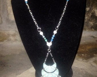 Blue and white stone sterling silver necklace
