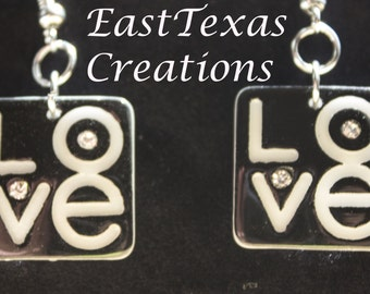 LOVE Earrings with Bling   By EastTexas Creations