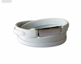 White genuine Leather Bracelet women