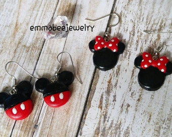 Disney Minnie & Mickey Mouse Dangle Earrings