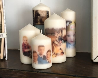Set of 5 personalised candles