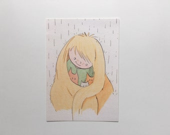 Girl with kitten in the rain art print//illustration//illustration of care/Protection/watercolor illustration print