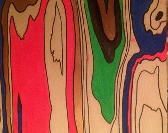 """12"""" x12"""" birch veneer thin tile graphid painted wood grain"""