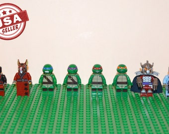 Teenage Mutant Ninja Turtles 8 pc minifigure set (Lego Compatible) TMNT Leonardo Michelangelo Donatello Raphael Splinter Shredder Krang Foot