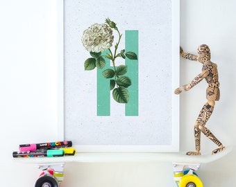 Printable Monogram, Letter N Monogram, Nursery Printable, Nursery Decor, Kids Room Art, Floral Monogram, Alphabet Wall Art, Alphabet Print