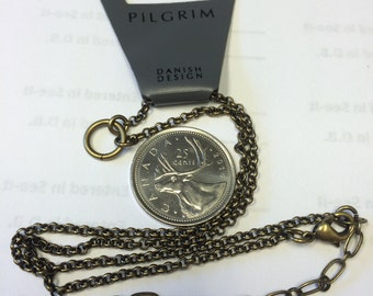 Pilgrim fashion jewelry short bronze chain necklace with center loop for clip-on charms