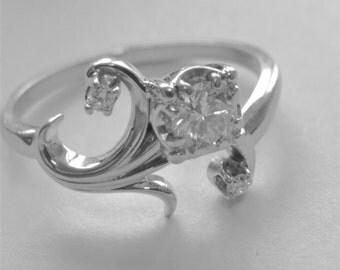 Diamond Engagement Vintage Jabel Ring 18k White Gold 0.35ctw Center Diamond Flower Leaves Design