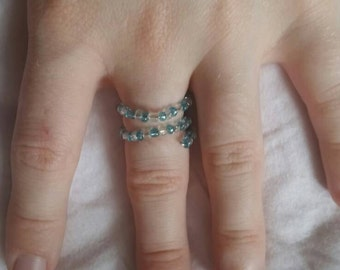 Blue and Clear Bead Wraparound Ring