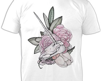 Unicorn Scull T-Shirt, Roll-up Sleeves T-shirt, Icon T-Shirt