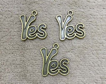30% off Yes charm, yes pendant, bracelet charm, antique bronze yes charm, jewelry finding, necklace pendant, word charm,10pcs,PEA07